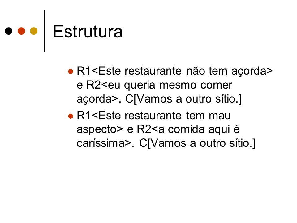 Estrutura R1<Este restaurante não tem açorda> e R2<eu queria mesmo comer açorda>. C[Vamos a outro sítio.]